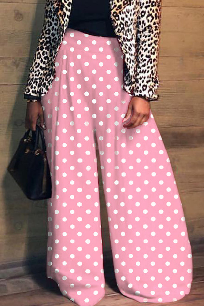Casual Polka Dot High Waist Wide Leg Pants