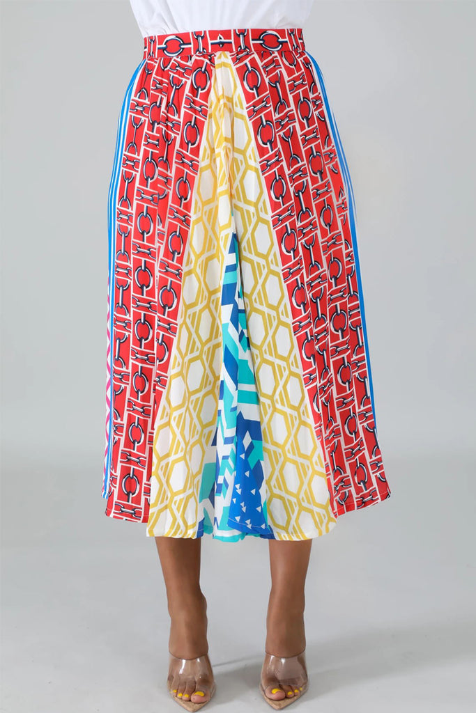 Geometric Print Patchwork Pleated Midi Skirt
