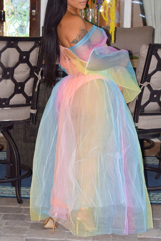 Mixed Color See-through Tie Up Long Sleeve Two Piece Maxi Dress