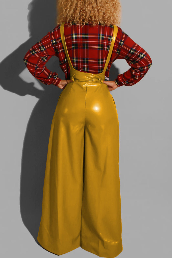 PU Belted Wide Leg Pants Overall