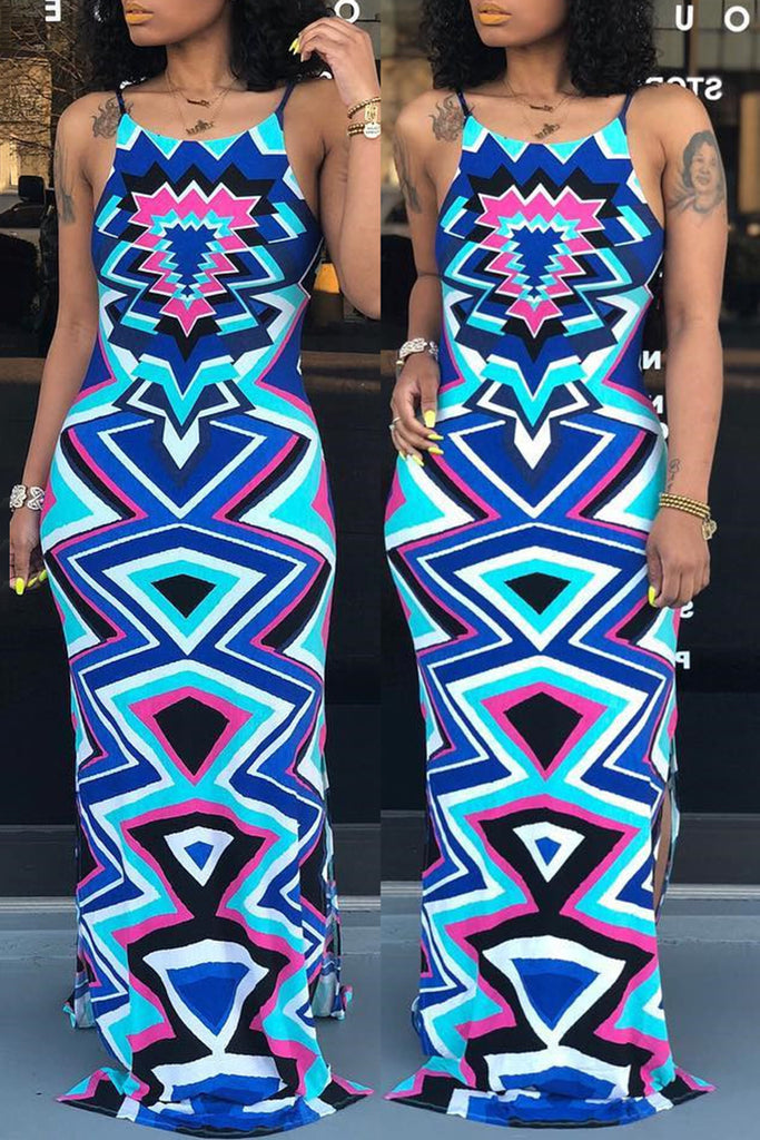 Halter Geometric Print Back Bandage Maxi Dress