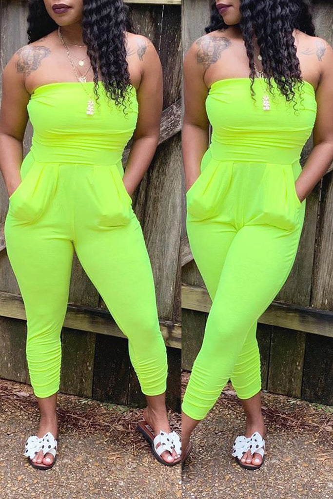 Strapless Open Back Solid Color Jumpsuit