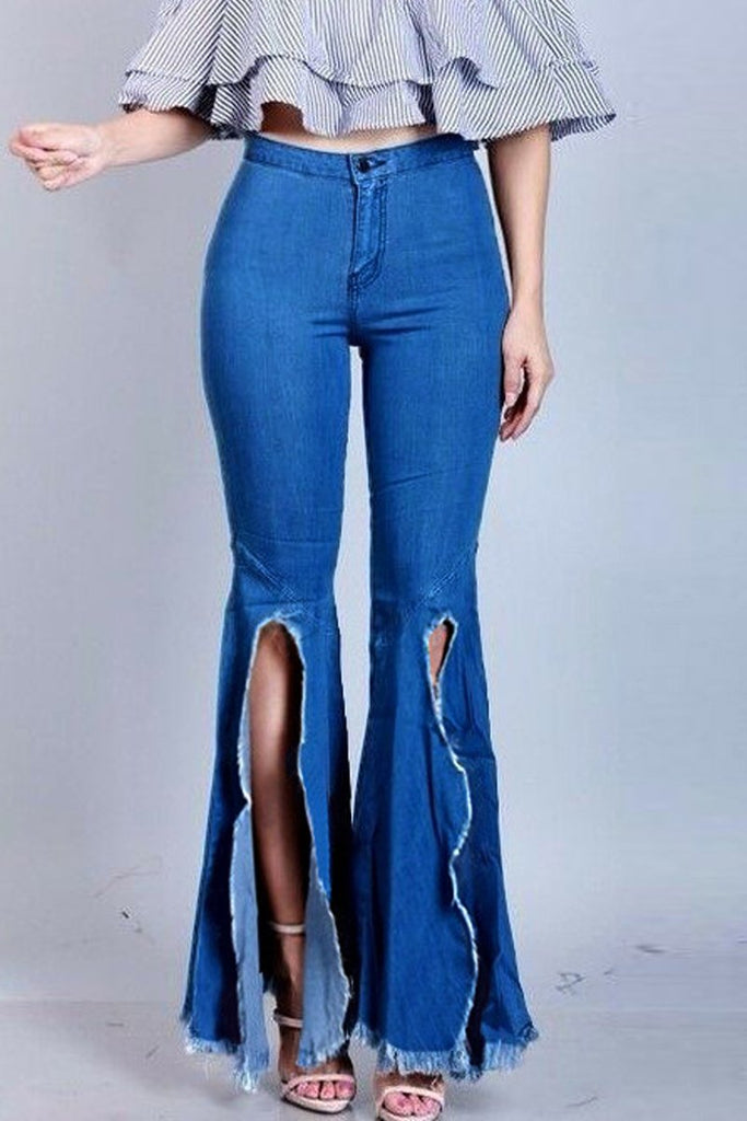 Plus Size Denim Slit Hem Flare Pants