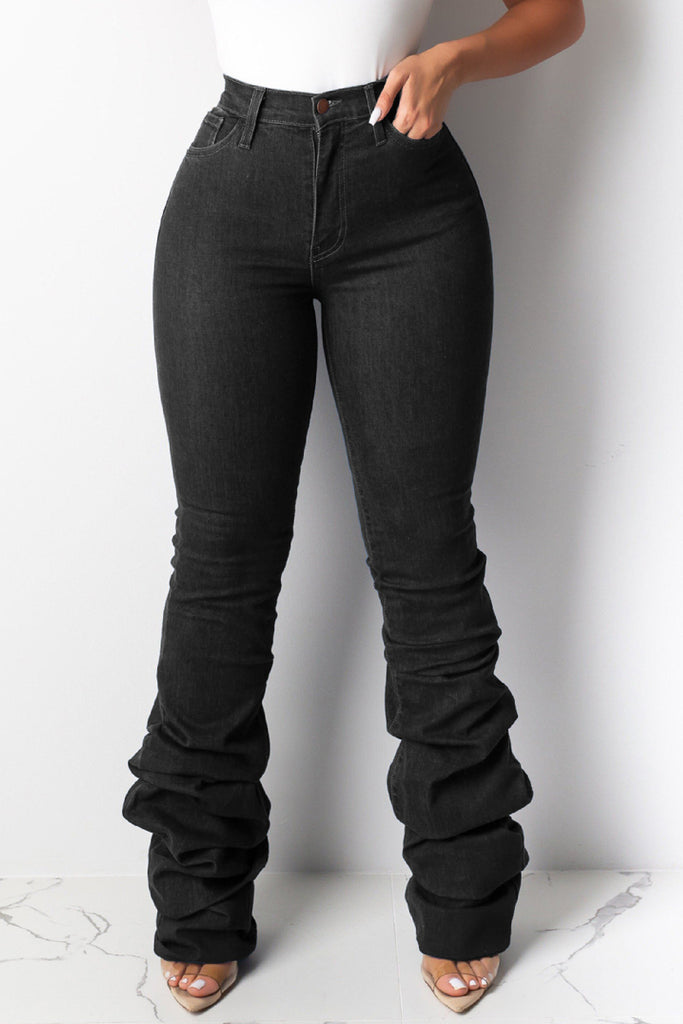 Solid High Waist Stacked Jeans Without Belt