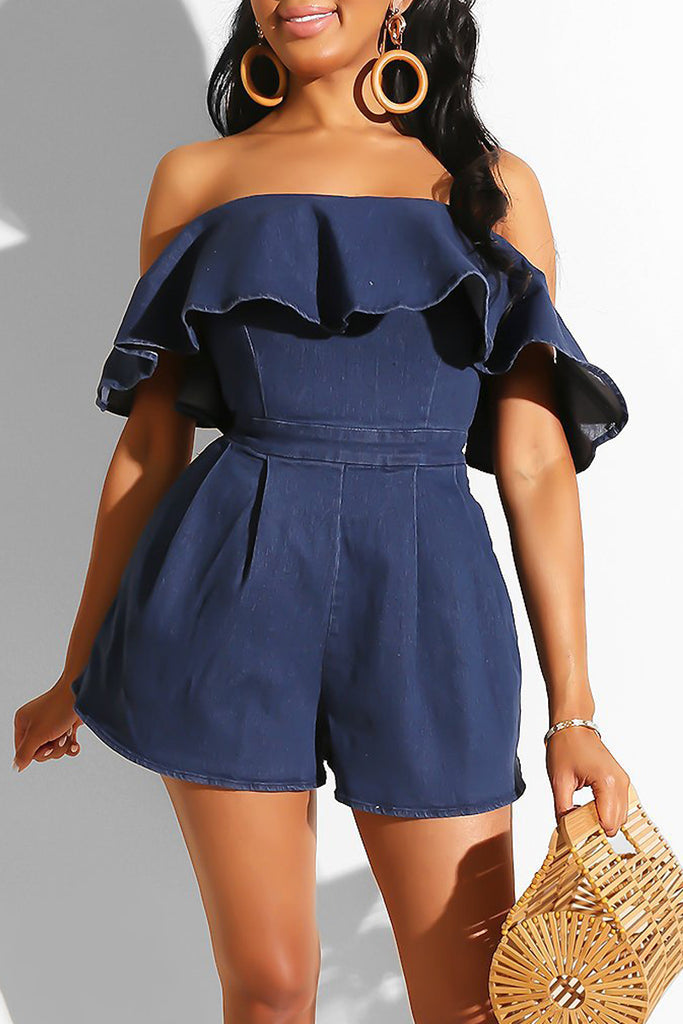 Denim Ruffle Overlay Open Back Romper