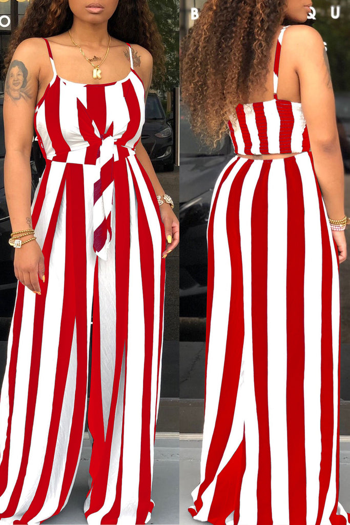 Spaghetti Straps Knot Front Stripe Print Jumpsuit