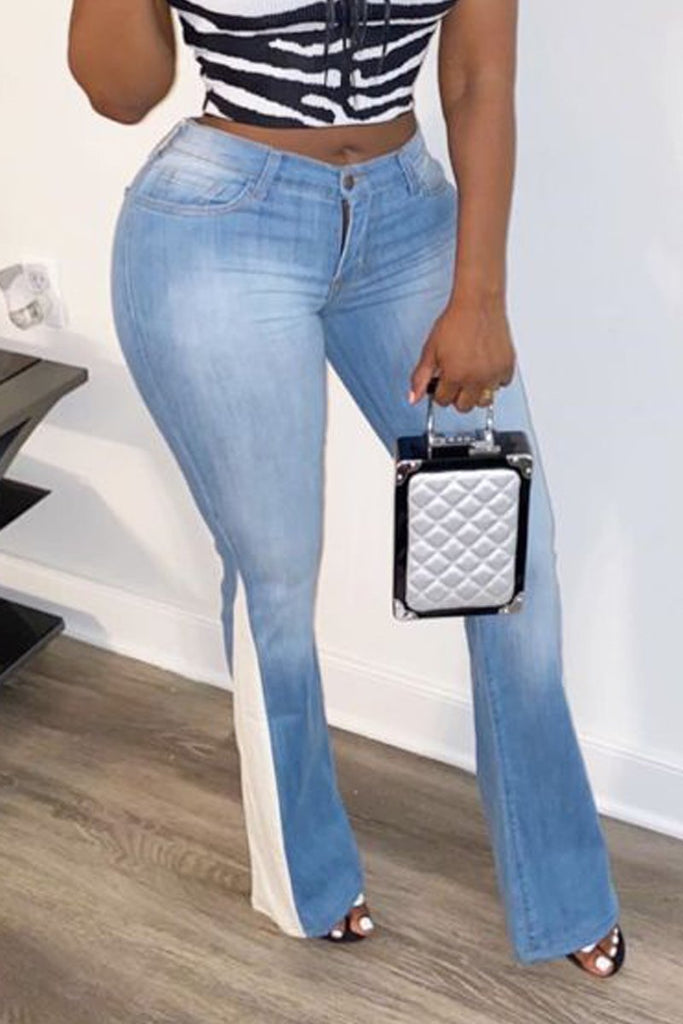 Denim Blue Patchwork High Waist Jeans