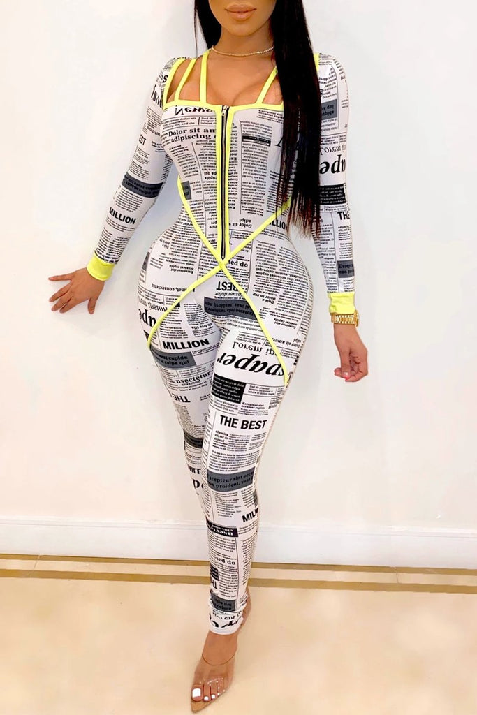 Hollow Out Newspaper Print Zipper Jumpsuit