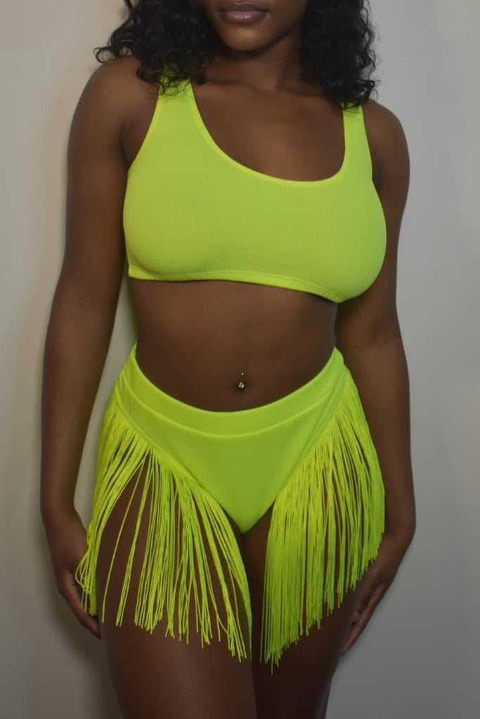 Solid Sleeveless Tassel Hem Two Piece Swimwear