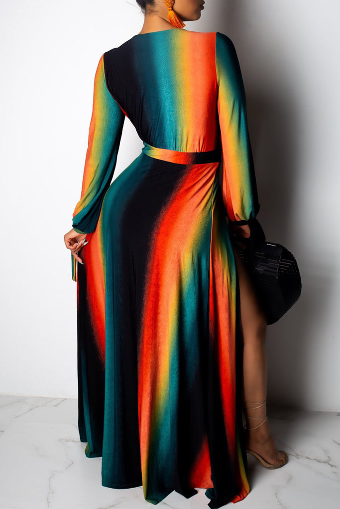 Gradient Print Deep V Neck High Slit Maxi Dress