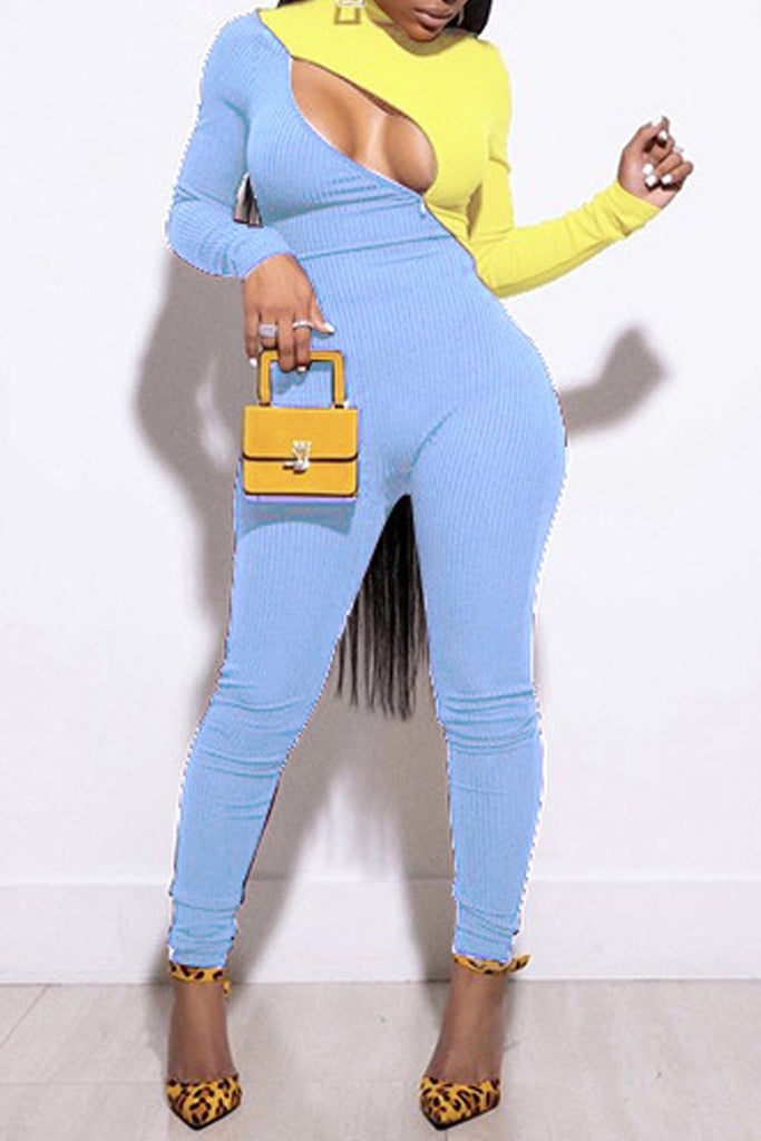 Color Block Zipper High Neck Bodycon Jumpsuit