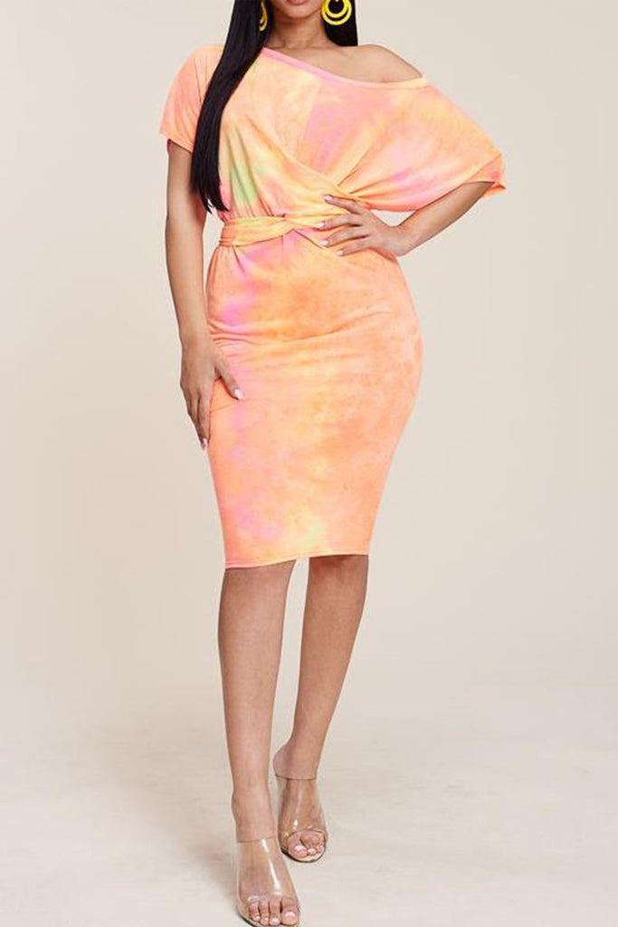 Skew Neck Tie Dye Belted Midi Dress