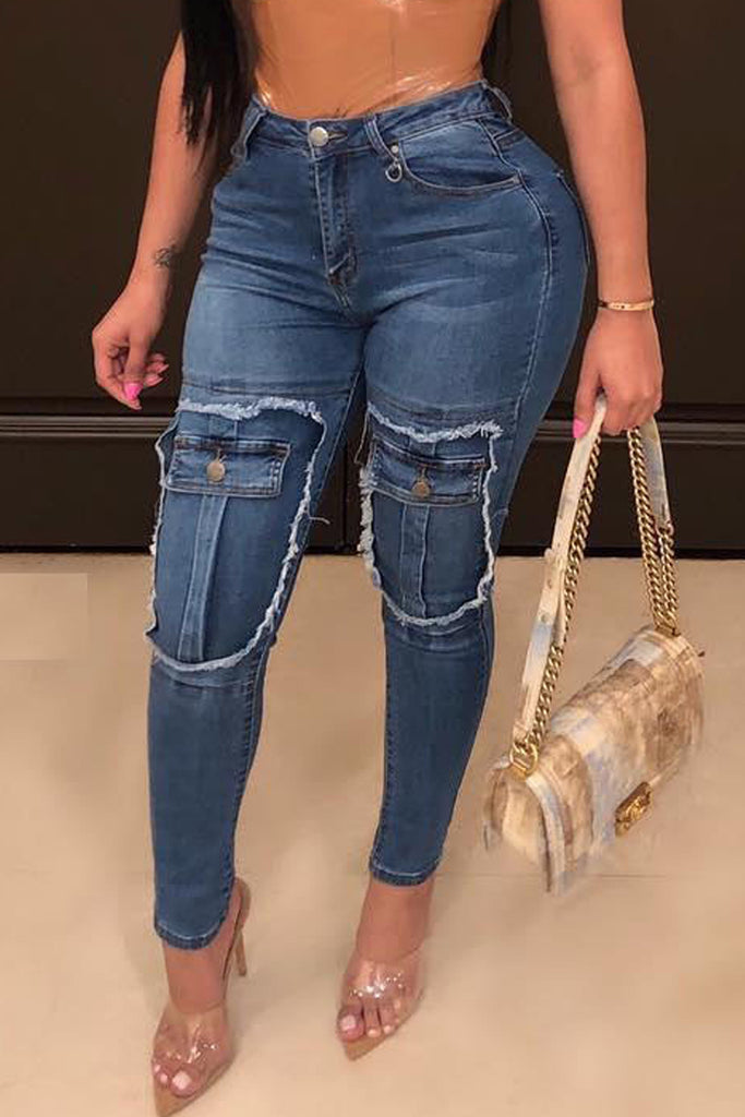 Denim High Waist Stretch Pencil Jeans
