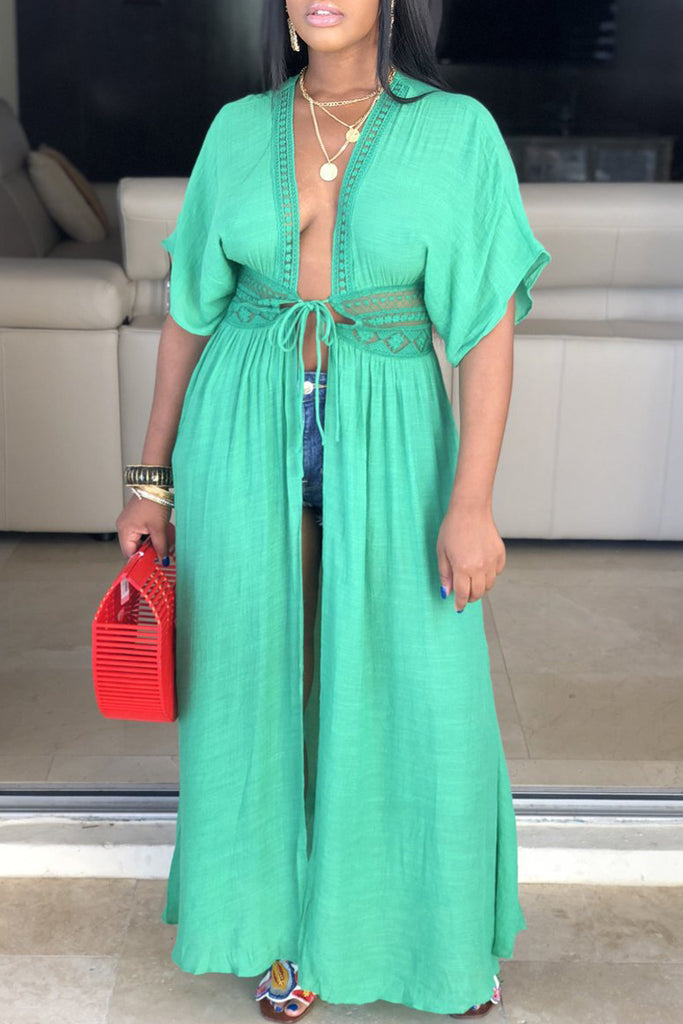 Solid Tie Up See-through Short Sleeve Maxi Dress