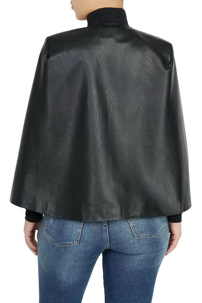 Leather Batwing Sleeve Solid Color Jacket