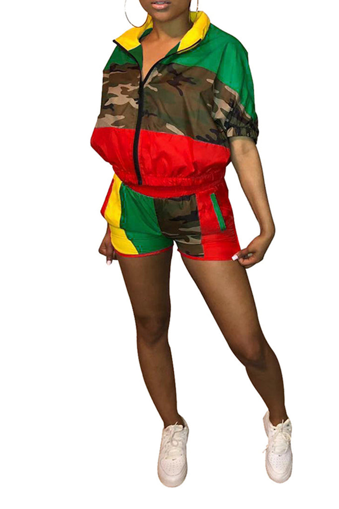 Color Block Camouflage Zipper Top & Shorts