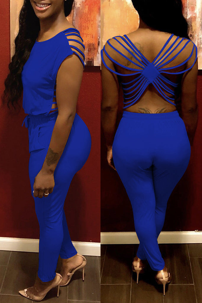 Solid Open Back Sleeveless Bandage Jumpsuit