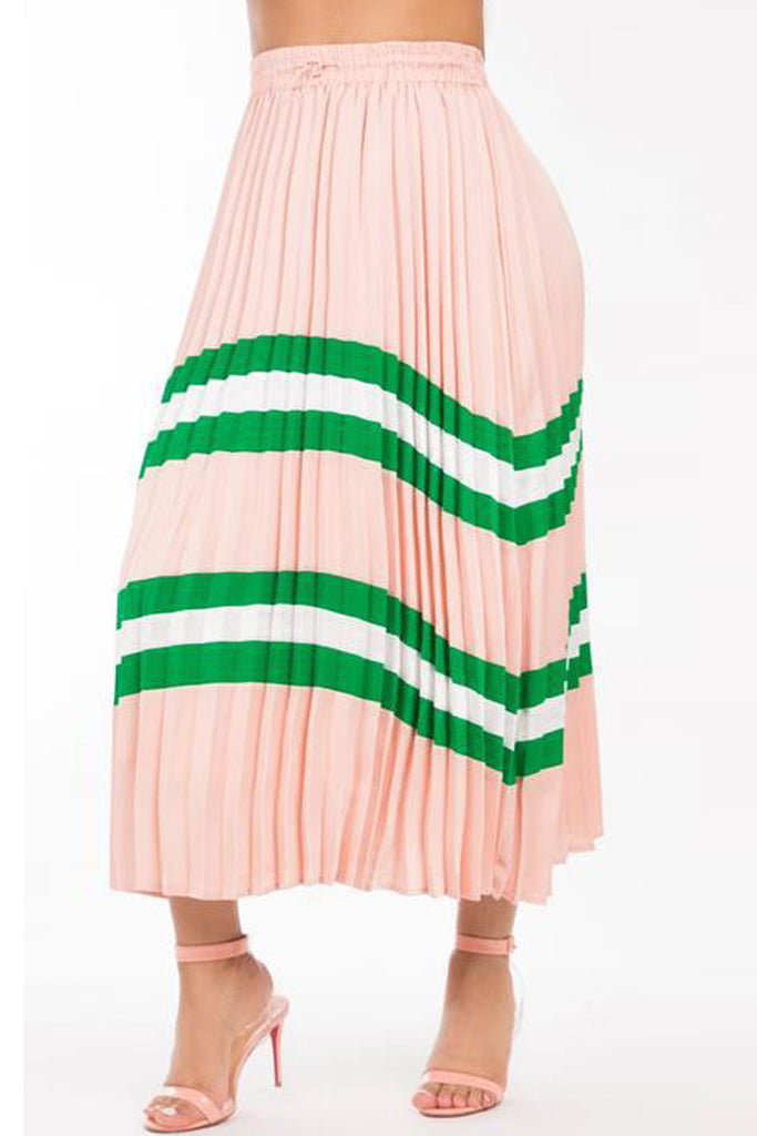 Patchwork Stripe Print High Waist Pleated Midi Skirt