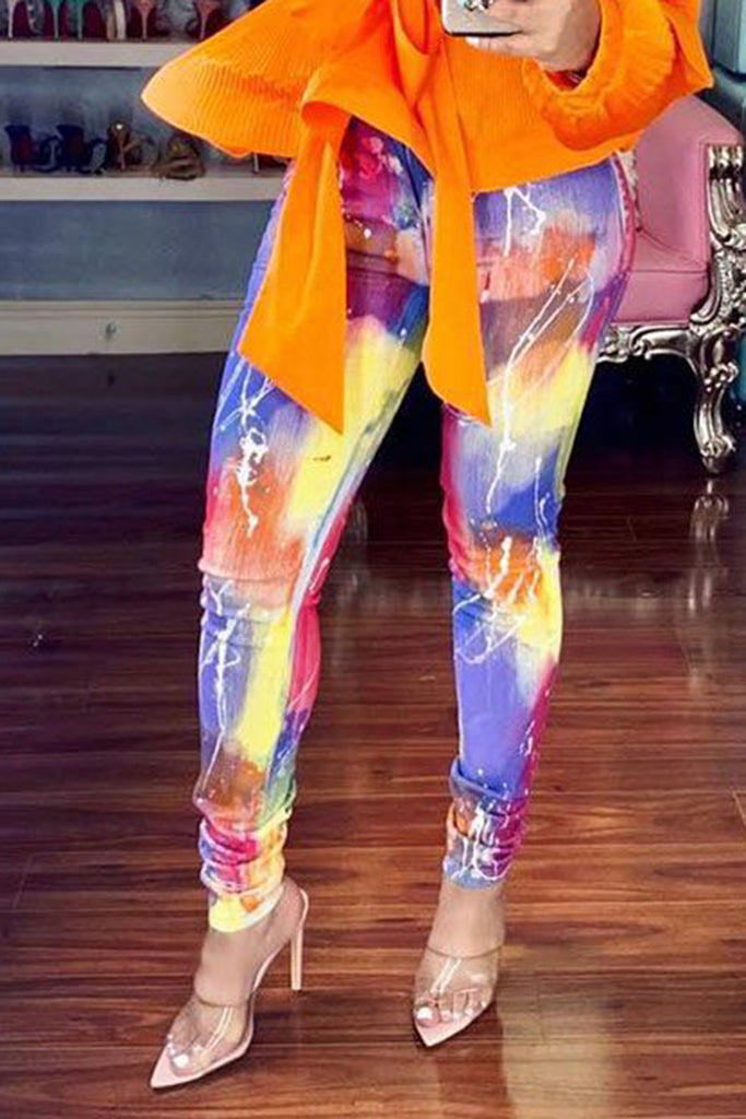 Colorful Digital Print High Waist Pencil Pants