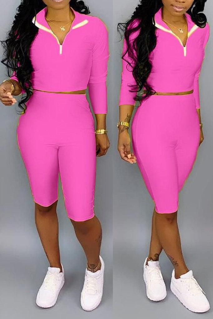 Zipper Collar Solid Color Long Sleeve Two Piece Sets