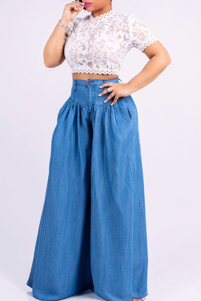 Ruffle Denim High Waist Wide Leg Pants