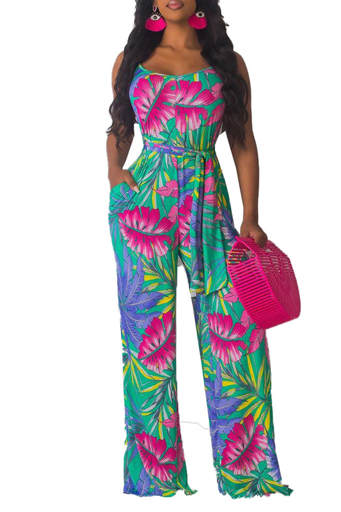 Summer Floral Print Pocket Jumpsuit With Belt