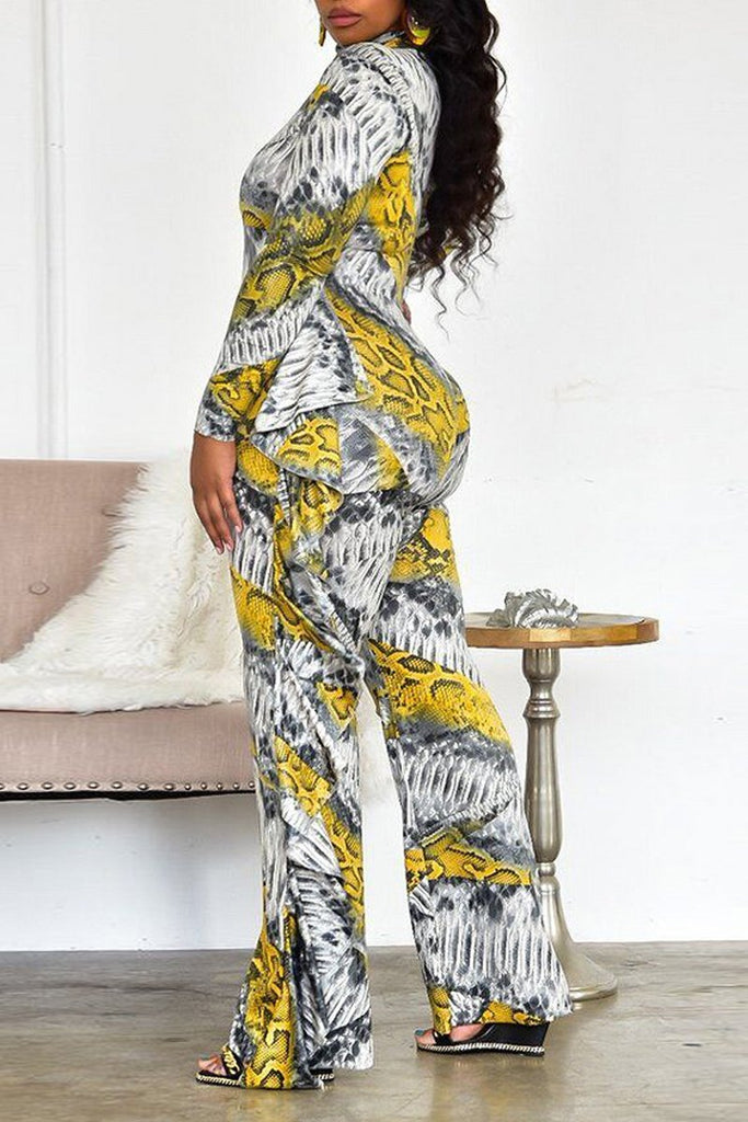 Snake Print High Neck Flounced Jumpsuit Without Belt