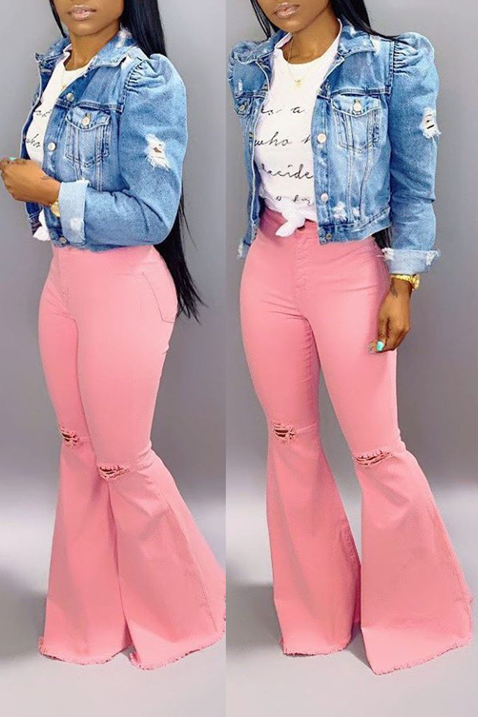 Solid Denim High Waist Stretch Flare Pants