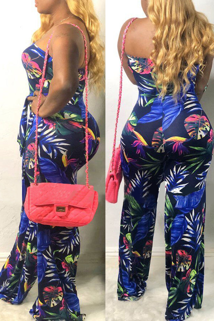 Strapless Open Back Print Belted Wide Leg Jumpsuit