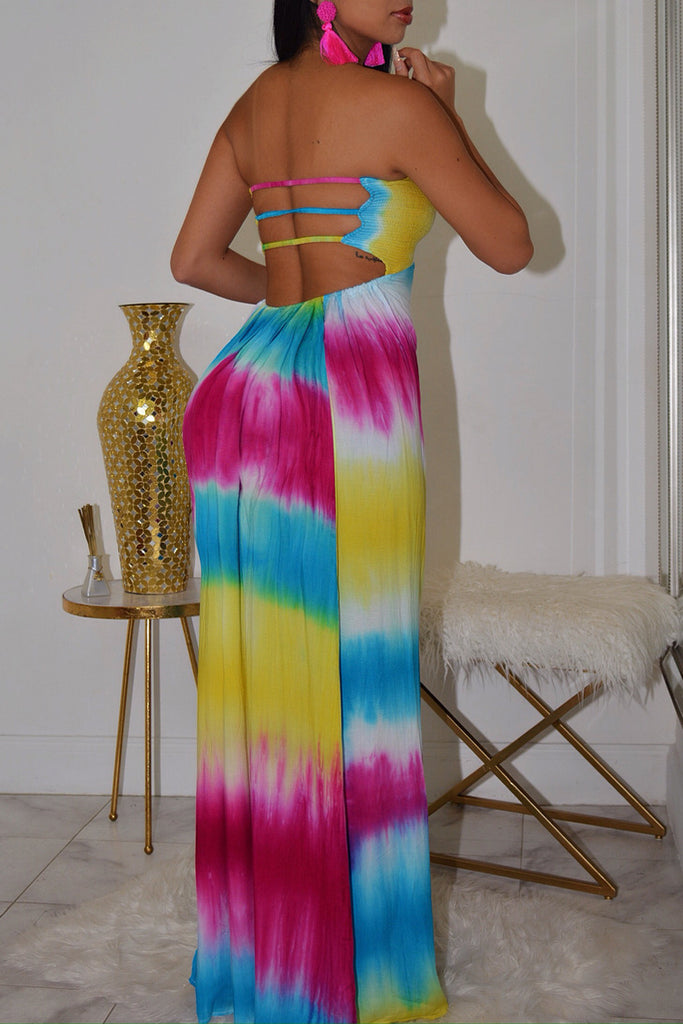 Strapless Tie Dye Open Back Casual Maxi Dress