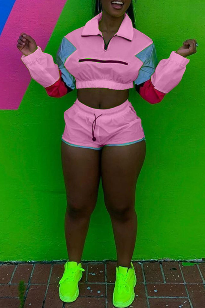 Color Block Turndown Collar Long Sleeve Top & Shorts