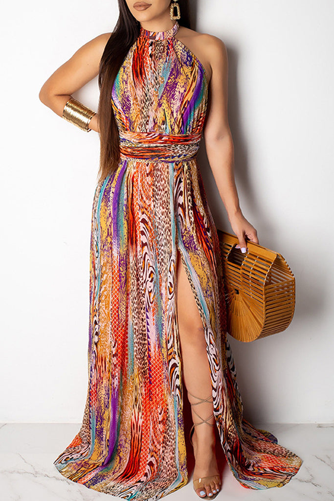 Halter Neck High Slit Open Back Print Maxi Dress