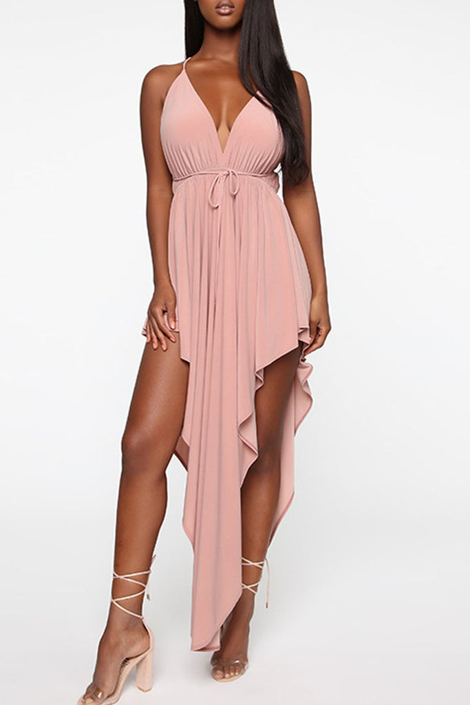 Asymmetric Hem V Neck Open Back Mini Dress