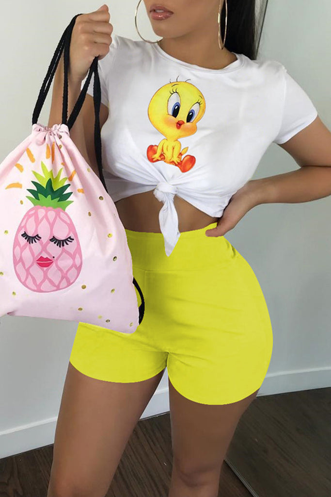 Cartoon Print Short Sleeve Casual Two Piece Sets