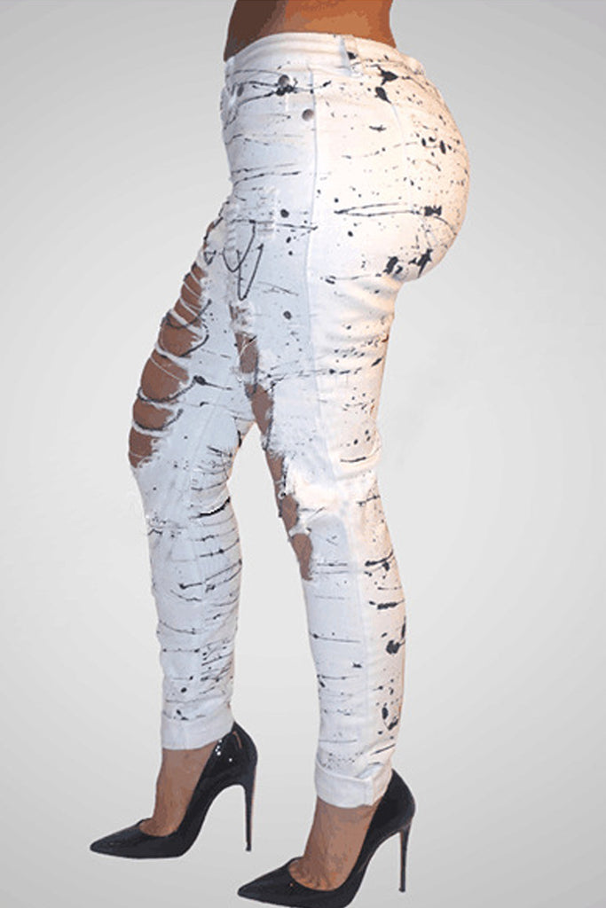 Denim Hole Distressed Ripped Pencil Pants