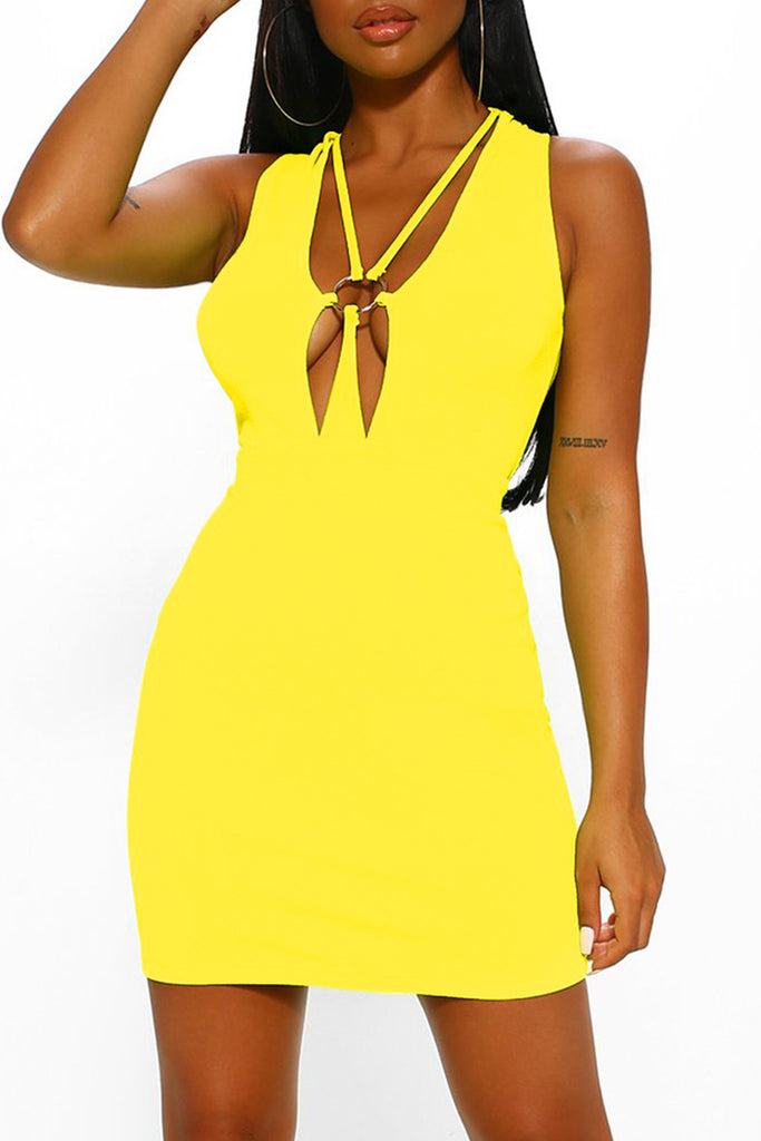 Hollow Out V-neck Sleeveless Mini Dress