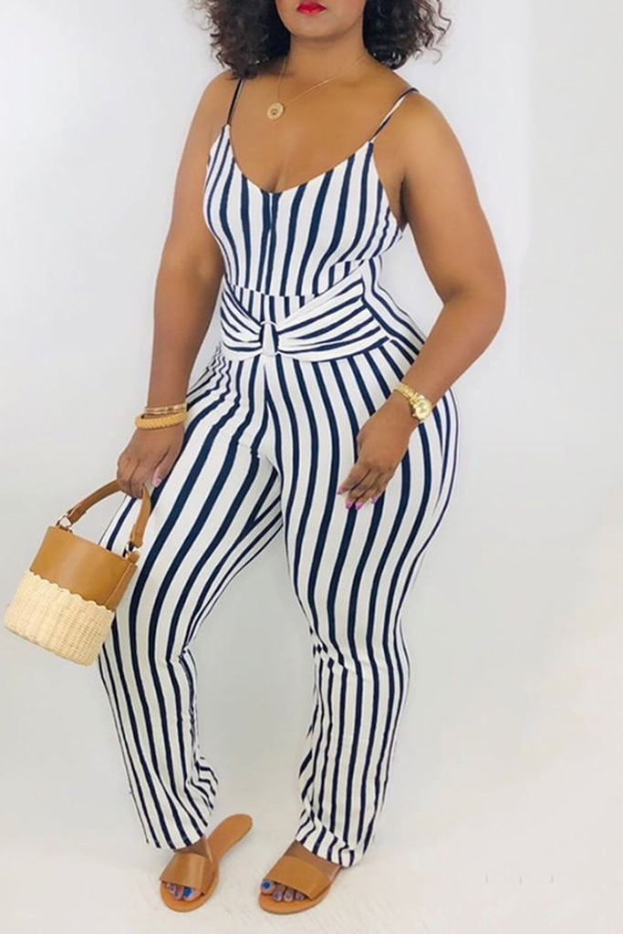 Striped Bowknot Round Neck Sleeveless Jumpsuit