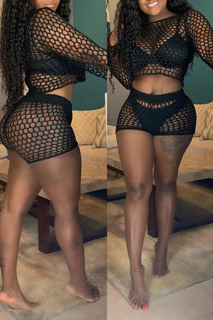 Hollow Out See-through Top & Shorts Without Underwear