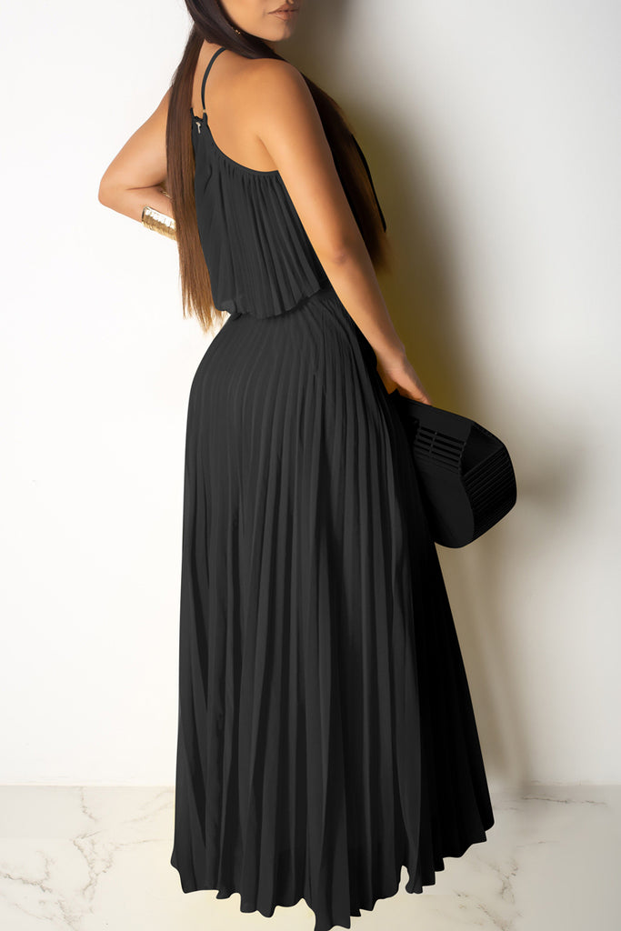 Halter Neck Crop Pleated Two Piece Maxi Dress