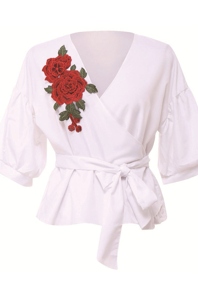 Embroidered V-neck Belted Long Sleeve Casual Blouse