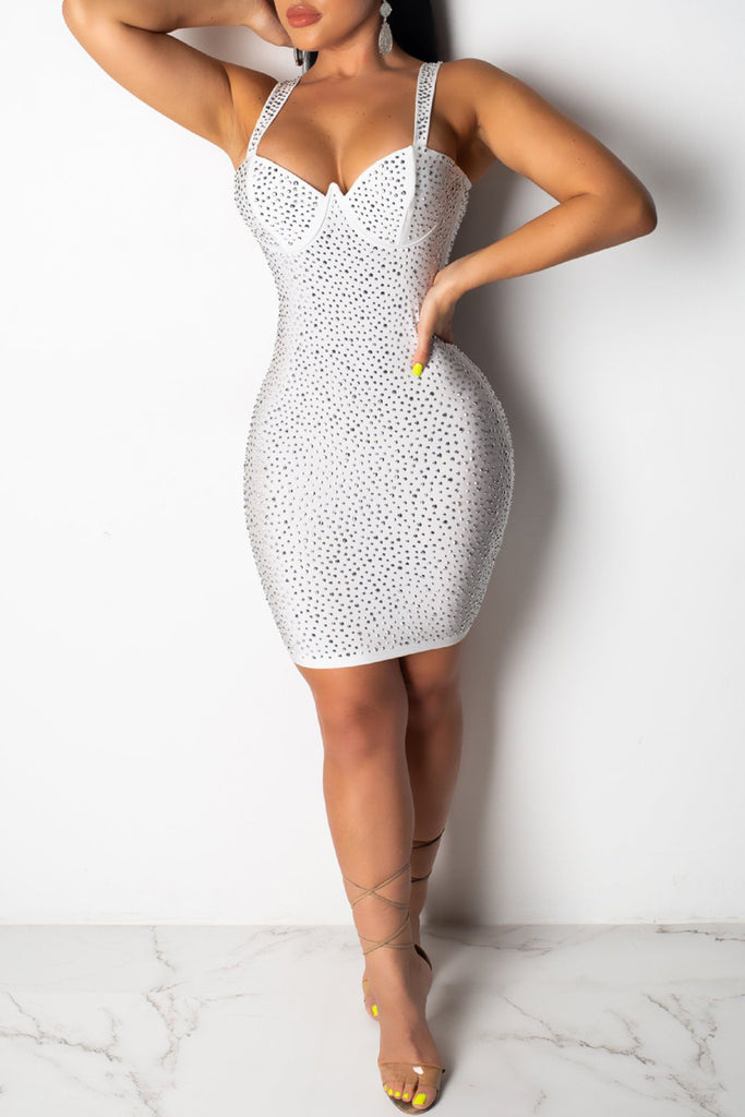 Spaghetti Straps Rhinestone Decorative Mini Dress