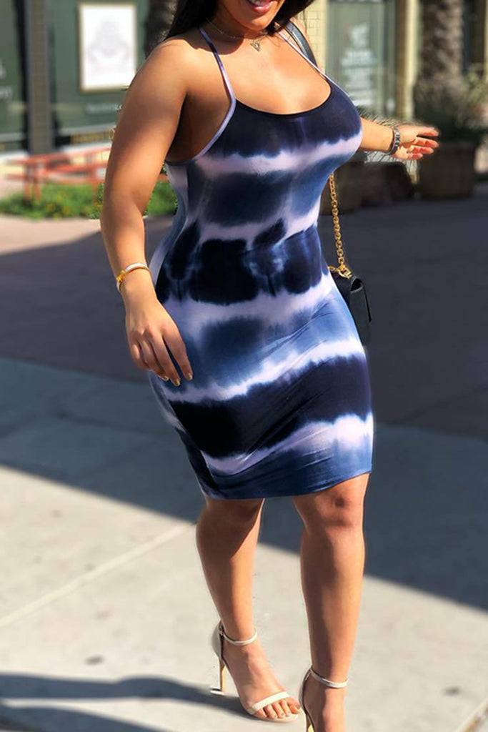 Tie Dye Scoop Neck Sleeveless Mini Dress