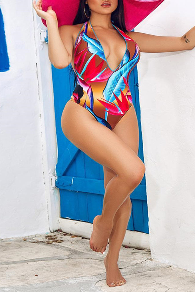 Floral Print Deep V-Neck One Piece Swimwear
