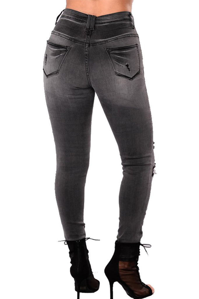 Plus Size Denim Hole Distressed Skinny Jeans