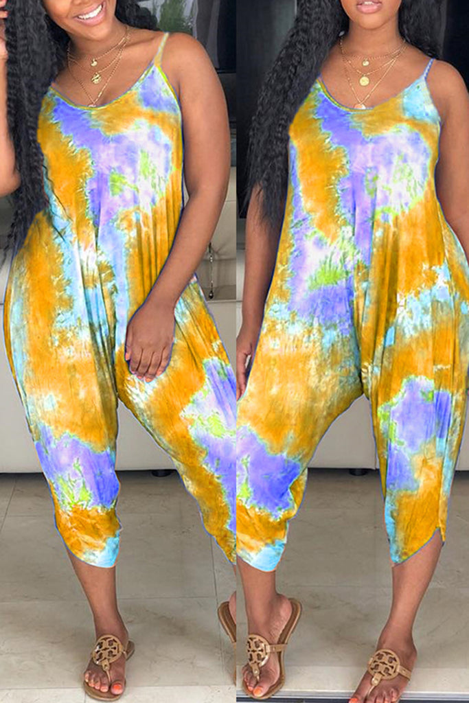 Sleeveless Tie Dye Casual Lantern Jumpsuit