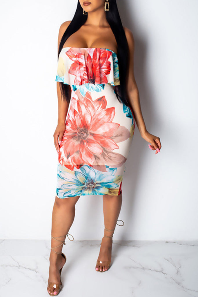 Strapless Print Open Back Sleeveless Midi Dress