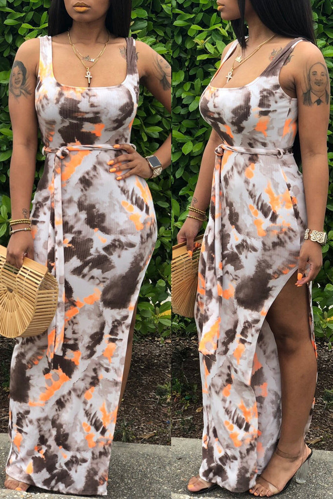 Tie Dye High Slit Sleeveless Open Back Maxi Dress