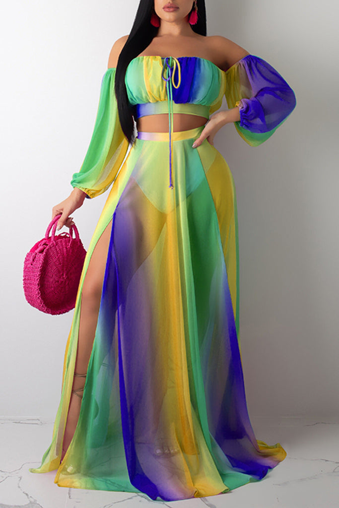 High Slit Rainbow Chiffon Three Piece Maxi Dress