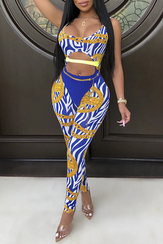 Printed Scoop Neck Pierced Sexy Jumpsuit