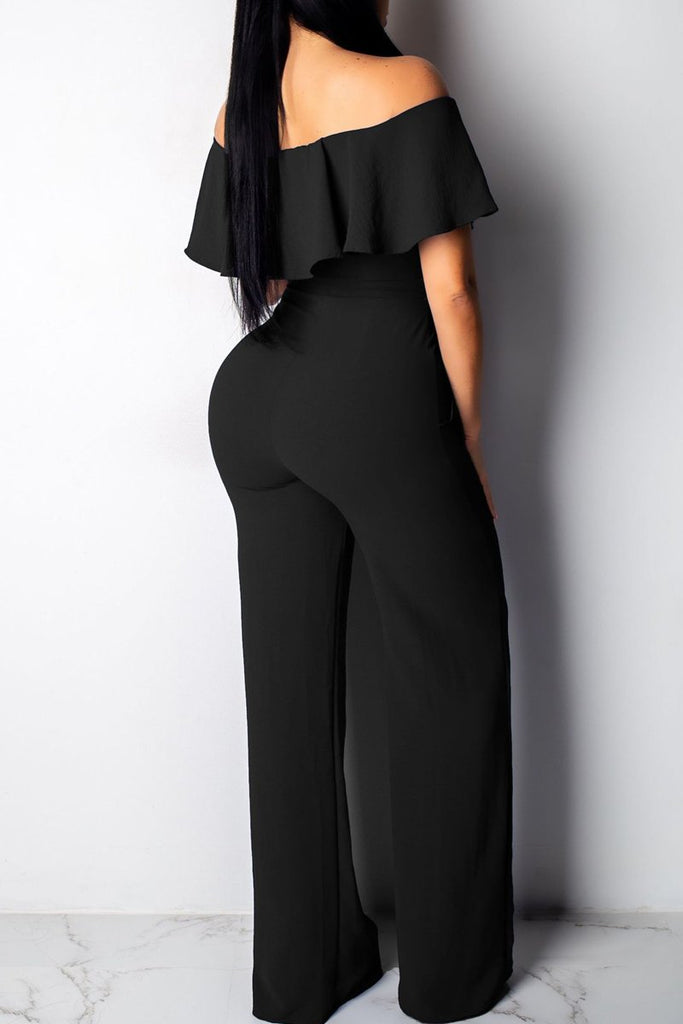 Solid Color Off The Shoulder Flounced Belted Jumpsuit